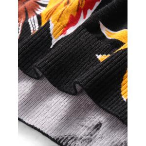 Long Sleeve 3D Flower and Eagle Print Sweater - BLACK M