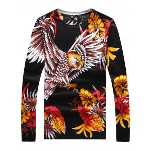 Long Sleeve 3D Flower and Eagle Print Sweater - Black - L