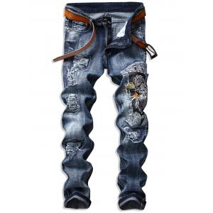 Eagle Embroidered Ripped Jeans