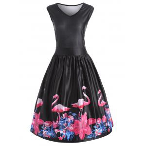 Flamingo Bird Plus Size V Neck Midi Vintage Dress