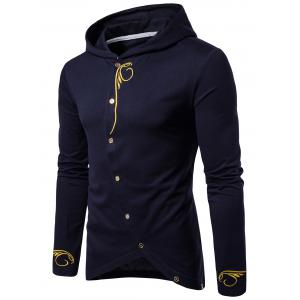 Long Sleeve Oblique Buttons Design Embroidered T-shirt - Cadetblue - L