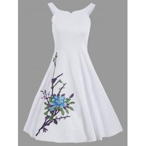 Floral Embroidery Spaghetti Strap A Line Dress