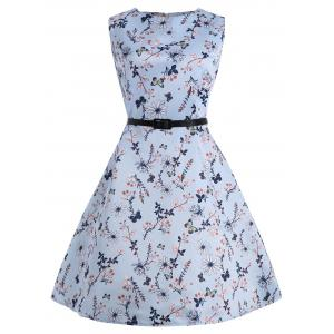 Floral Plus Size Vintage Style Dress with Belt