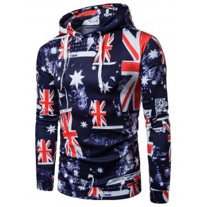 Patriotic 3D Star and Union Flag Print Hoodie