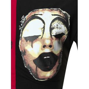 Color Block Clown Print Embroidery Tee - RED/BLACK 2XL
