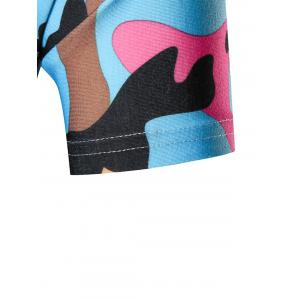 Colorful Short Sleeve Camouflage Tee - BLUE 3XL