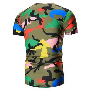 Colorful Short Sleeve Camouflage Tee - GREEN 2XL