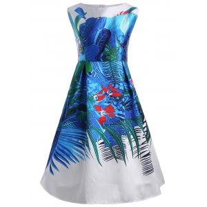 Floral Tropical Plus Size Retro Dress with Pockets