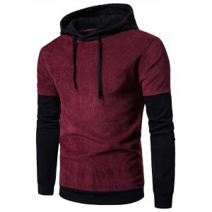 Long Sleeve Color Block Panel Corduroy Hoodie - Wine Red - M