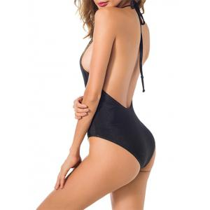 Embroidered Open Back One Piece Swimsuit - BLACK S