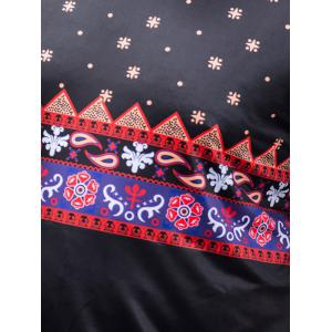 Tribal Pattern Short Sleeves Plus Size T-shirt - BLACK 4XL