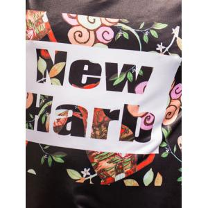 Plus Size Floral and Letters Printed T-shirt - BLACK 4XL