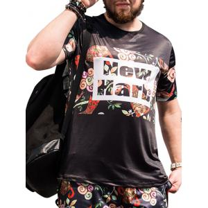 Plus Size Floral and Letters Printed T-shirt