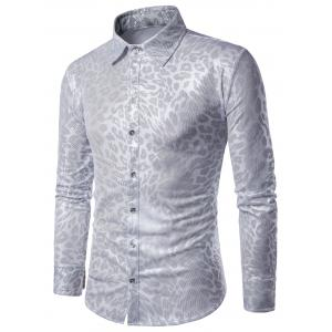 Long Sleeve Leopard Pattern Gilding Shirt