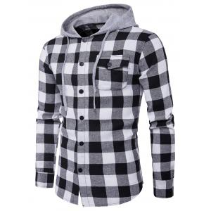 Hooded Panel Long Sleeve Pocket Tartan Shirt