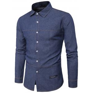 Suture Design Label Long Sleeve Denim Shirt