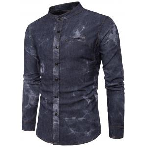 Long Sleeve Edging Tie Dye Denim Shirt