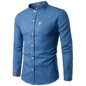 PU Leather Embellished Pocket Holes Design Denim Shirt