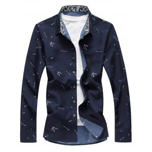 Arrow Print Button Long Sleeve Shirt