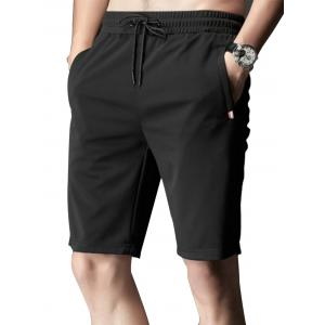 Zipper Pocket Stripe Trim Drawstring Shorts - Black - 4xl