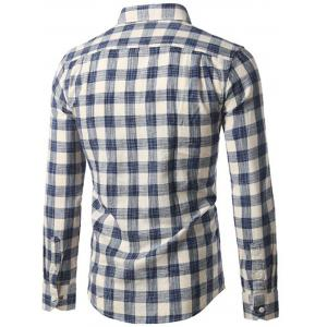 Button-Down Long Sleeve Plaid Shirt - BLUE L