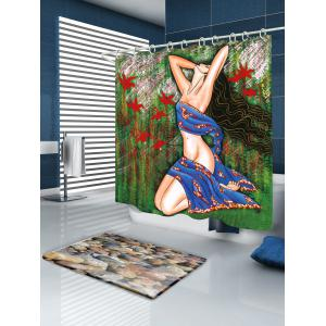 Oil Painting Girl Bathroom Fabric Shower Curtain - COLORMIX W59 INCH * L71 INCH