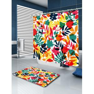 Tropical Leaf Printed Waterproof Shower Curtain - COLORFUL W59 INCH * L71 INCH