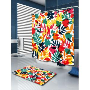 Tropical Leaf Printed Waterproof Shower Curtain - COLORFUL W71 INCH * L71 INCH