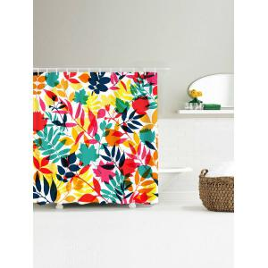 Tropical Leaf Printed Waterproof Shower Curtain - COLORFUL W71 INCH * L79 INCH