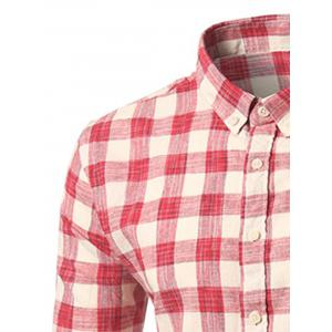 Button-Down Long Sleeve Plaid Shirt - RED XL