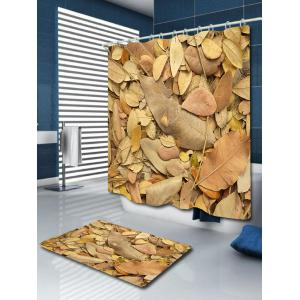 Bathroom Product Fallen Leaves Print Waterproof Shower Curtain - KHAKI W71 INCH * L71 INCH