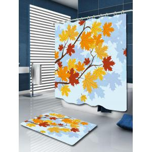 Bathroom Product Maple Leaf Print Waterproof Shower Curtain - COLORFUL W71 INCH * L79 INCH