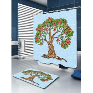 Tree of Life Floral Waterproof Shower Curtain - LIGHT BLUE W71 INCH * L71 INCH