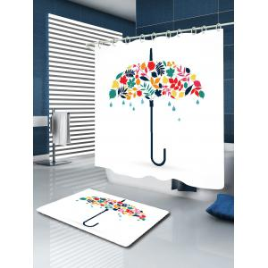 Umbrella Leaf Print Waterproof Fabric Shower Curtain - WHITE W59 INCH * L71 INCH