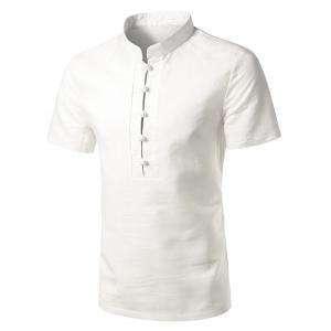 Mandarin Collar Short Sleeve Shirt