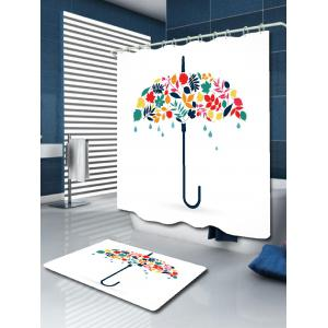 Umbrella Leaf Print Waterproof Fabric Shower Curtain -