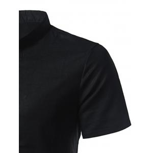 Mandarin Collar Short Sleeve Shirt - BLACK 5XL