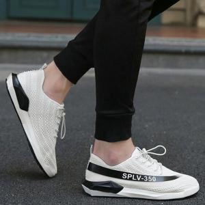 Low-Top Mesh Color Block Sneakers - White - 40