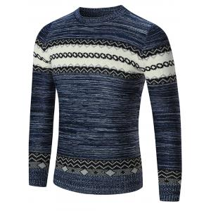 Space Dyed Crew Neck Geometric Sweater - Blue - M
