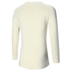 Raglan Sleeve Open Front Plain Cardigan - OFF-WHITE M