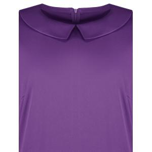 Collared Plus Size A Line Dress with Pockets - PURPLE 6XL