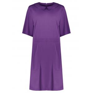 Collared Plus Size A Line Dress with Pockets