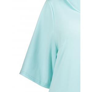 Collared Plus Size A Line Dress with Pockets - LIGHT BLUE 6XL