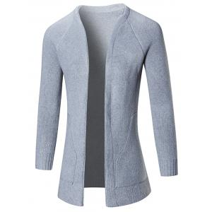 Raglan Sleeve Open Front Plain Cardigan
