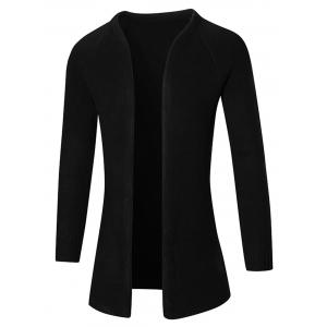Raglan Sleeve Open Front Plain Cardigan - Black - L