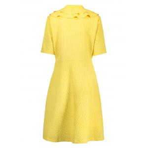 Ruffle Front Zip Plus Size Skater Dress - YELLOW 6XL
