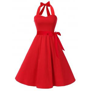 Vintage Halter Backless Lace Up Skater Dress - Red - L