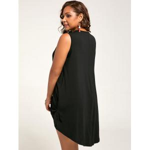 V Neck Plus Size Draped High Low Tank Dress -