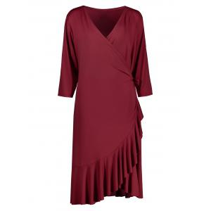 Plus Size Flounce Wrap Work Mermaid Dress - Wine Red - 3xl