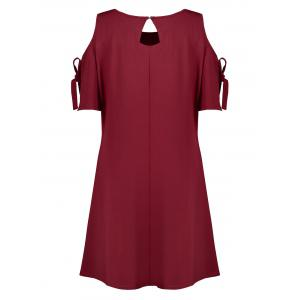Plus Size  Open Shoulder Self Tie Skater Dress - WINE RED 3XL
